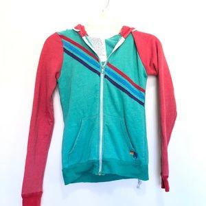 Aviator Nation Colorblock Hoodie Zip Up Sweatshirt